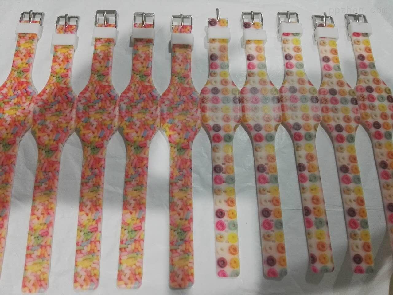 硅胶成人手表带可定制颜色logo打印机