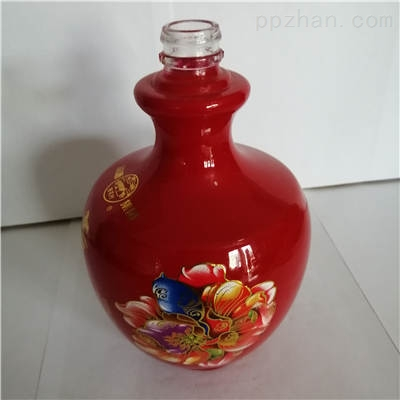 喷涂加烤花玻璃酒瓶