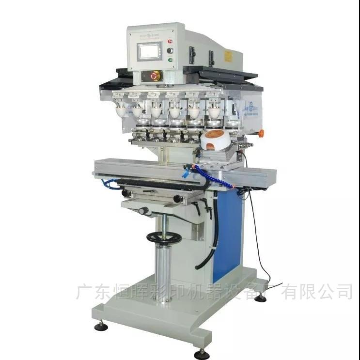 SPCTSE-868SDR-六色伺服穿梭油盅移印机附设旋转夹具